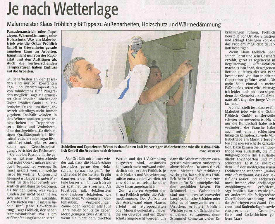 Zeitungsbericht Klaus Fröhlich