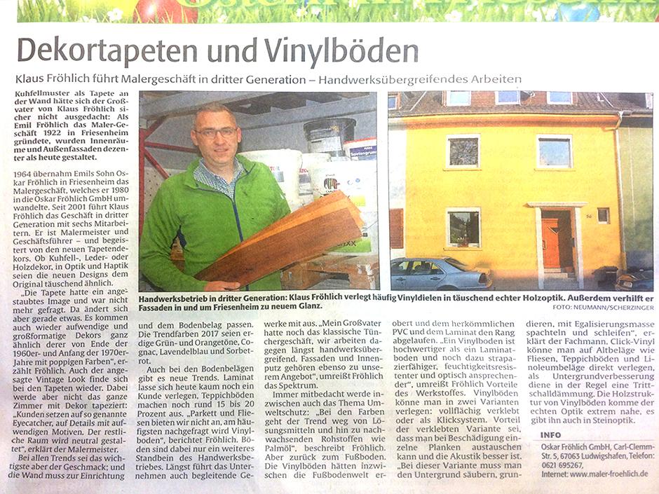 Zeitungsbericht Klaus Fröhlich 2017